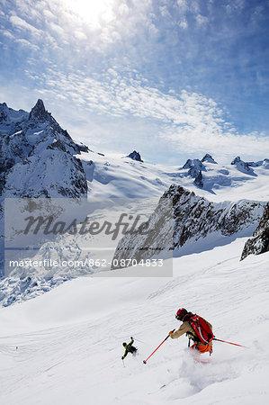 Europe, France, Haute Savoie, Rhone Alps, Chamonix, skier on the Vallee Blanche off piste (Dent de Geant 4013m)