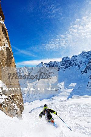 Europe, France, Haute Savoie, Rhone Alps, Chamonix, skier on the Vallee Blanche off piste