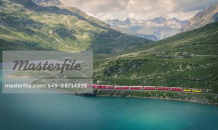 Glacier Express train on the Bernina Pass, Canton Graubunden, Switzerland