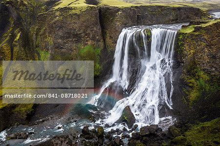 Fagrifoss waterfall on the slopes of Laki crater, Lakagigar, highlands region, Iceland, Polar Regions