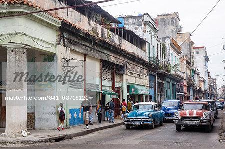 Street scene in Centro Havana, Havana, Cuba, West Indies, Caribbean, Central America