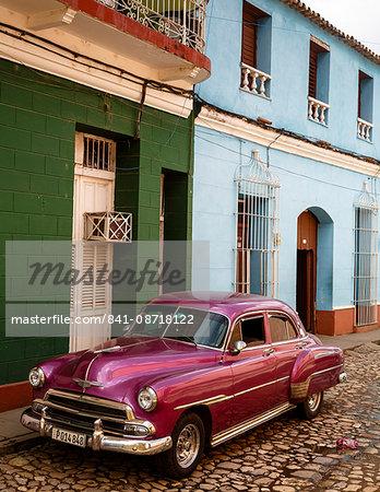 Old American vintage car, Trinidad, Sancti Spiritus Province, Cuba, West Indies, Caribbean, Central America