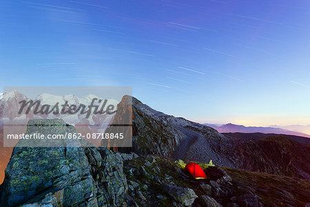 Europe, France, Haute Savoie, Rhone Alps, Chamonix, Mont Blanc 4810m, campsite at Brevant