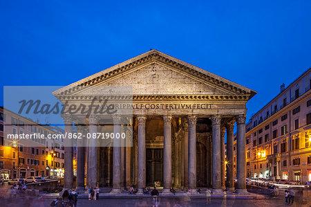 The front facade of the Pantheon in Piazza della Rotonda at twilight, Sant Eustachio, Rome, Lazio, Italy.