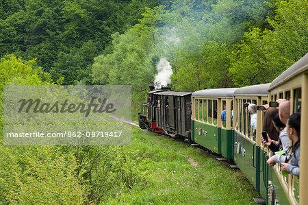 Romania, Maramures, Viseu de Sus. The Mocanita steam train chugging up the Vaser Valley.