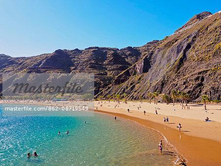 Spain, Canary Islands, Tenerife, Santa Cruz de Tenerife, San Andres, Las Teresitas Beach.