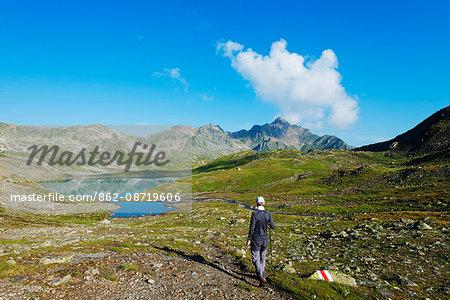 Europe, Switzerland, Graubunden, Engadine, mountain scenery in the Unterengadin