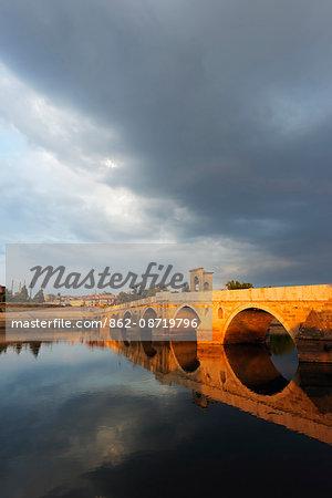 Turkey, Thrace, Edirne, Tunca Koprosu stone arched bridge