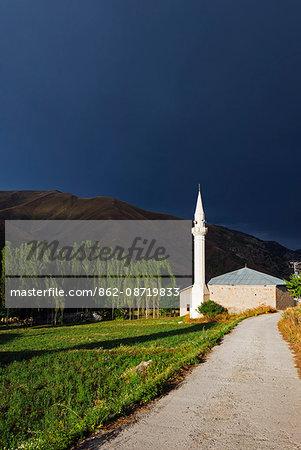 Turkey, Eastern Anatolia, Kackar Mountains, mosque minaret at Yaylalar