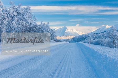Snowy Road in Winter, Breivikeidet, Troms, Norway