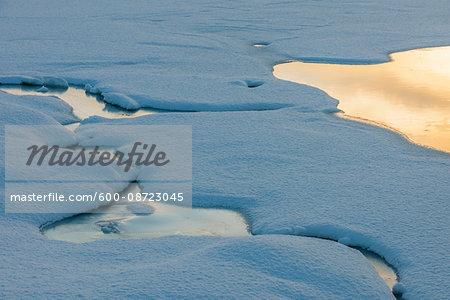 Frozen Snowy Fjord Lake in Winter, Nordbotn, Troms, Norway