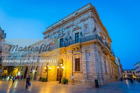 City Hall in Piazza Duomo at Dusk, Syracuse, Sicily, Italy