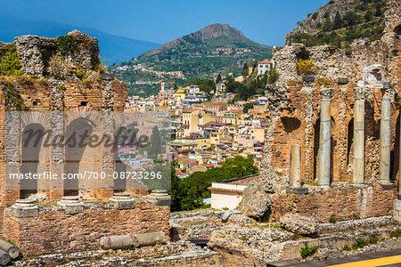 Archways and Pillars at Teatro Antico di Taormina in Taormina, Sicily, Italy