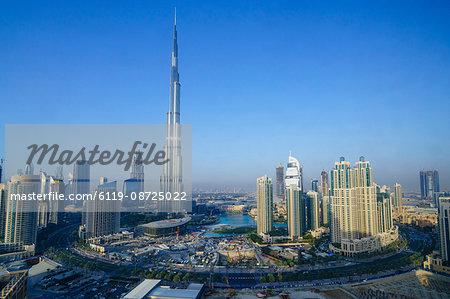 Burj Khalifa and surrounding Downtown skyscrapers, Dubai, United Arab Emirates, Middle East