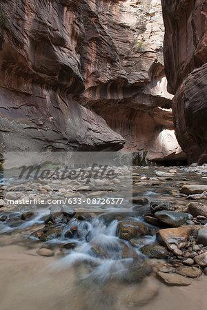River running through canyon in Zion National Park, Utah, USA