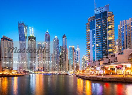 Dubai Marina skyline at night, Dubai City, United Arab Emirates, Middle East