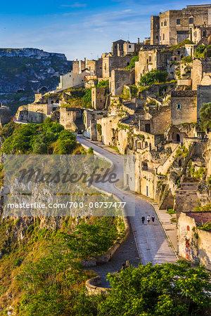 Road through Sassi, Matera, Basilicata, Italy
