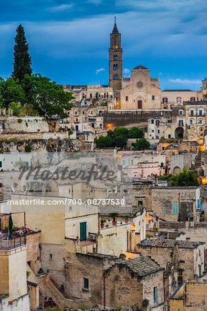Matera Cathedral and Overview of City at Dusk, Matera, Basilicata, Italy