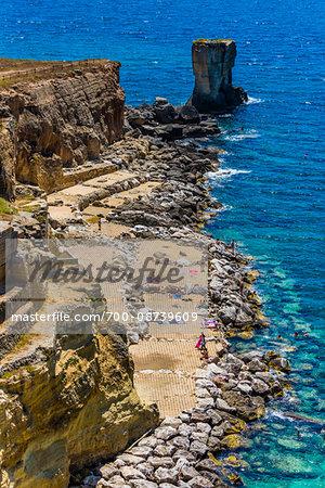 The breathtaking coastal resort and themal waters at Santa Cesarea Terme in Puglia, Italy