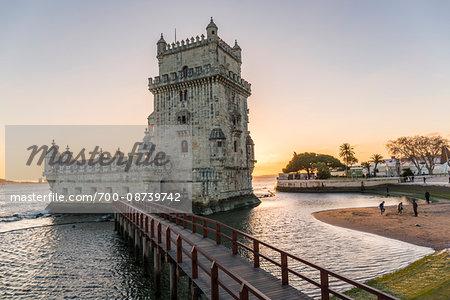 Torre de Belem on Tejo River at Sunset in Lisbon, Portugal