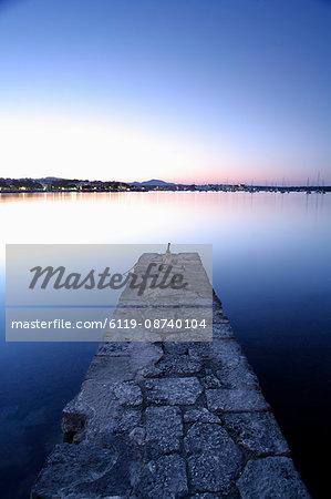 Stone jetty at dusk, Porto Colom, Majorca, Balearic Islands, Spain, Mediterranean, Europe