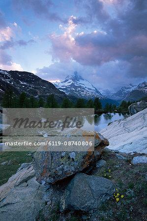 Grindjisee and Matterhorn at sunset, Zermatt, Swiss Alps, Switzerland, Europe