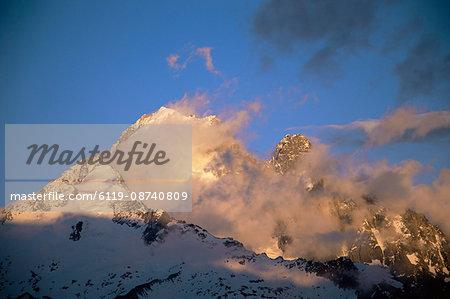 Aiguilles de Chamonix at sunset, Chamonix, French Alps, France, Europe