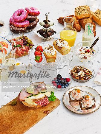 Sweet and savory food on table
