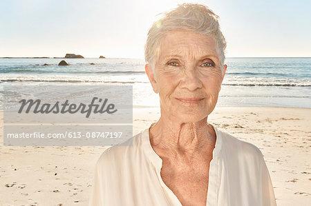 Senior woman on the beach, close up