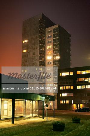 View of skyscraper at night