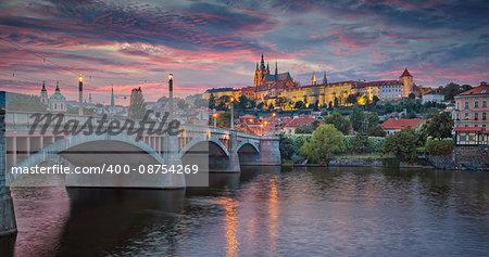 Image of Prague, capital city of Czech Republic, during dramatic sunset.
