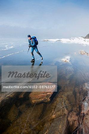 Man ice skating, Sweden