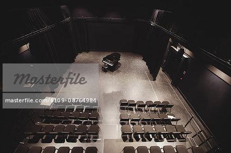View of empty auditorium in music school
