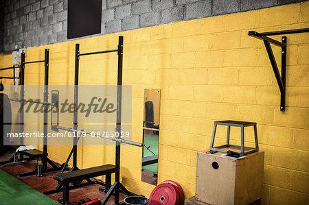 Exercising equipment in the empty fitness studio