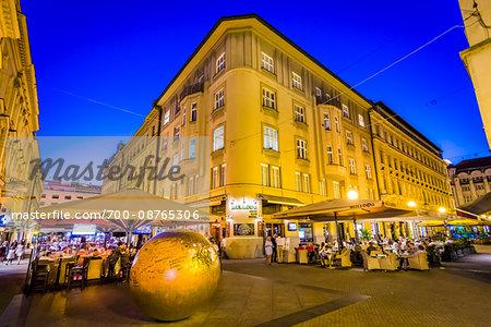 Prizemljeno Sunce (or The Grounded Sun) at Dusk in Zagreb, Croatia