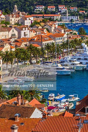Yachts in the marina at the Old Town of Hvar on Hvar Island, Croatia