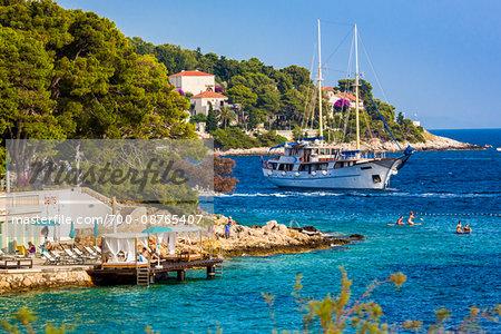 Beachfront cabanas at the Amfora Grand Beach Resort in Hvar Town on Hvar Island, Croatia