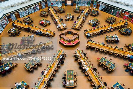 The La Trobe Reading Room in the State Library of Victoria, Melbourne, Victoria, Australia.