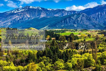 Scenic view of the fertile farmland of the Wakatipu Basin near Queenstown, Otago, New Zealand