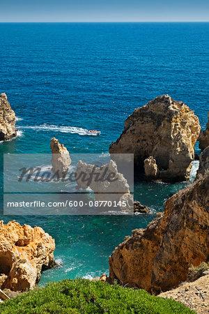 Rock Formations at Lagos, Algarve Coast, Portugal