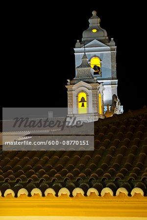 Bell Towers of Igreja de Santo Antonio at Night, Lagos, Portugal