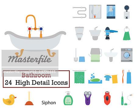 Set of 24 Bathroom Icons. Flat color design. Vector illustration.