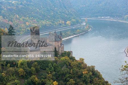 Katz castle on River Rhine, St. Goarhausen, Rhineland Palatinate, Germany