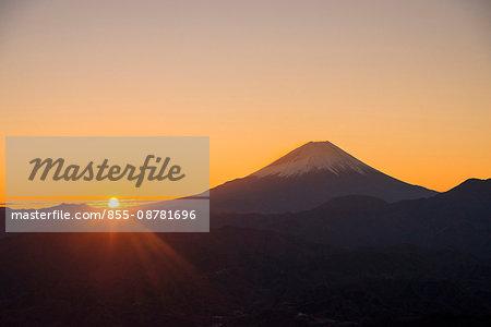 Mt. Fuji at sunrise viewed from Kushigatayama, Minamiarupusu city, Yamanashi prefecture, Japan