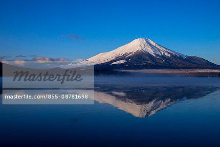 Mt. Fuji and its reverse reflection on Yamanakako, Yamanakako town, Yamanashi prefecture, Japan