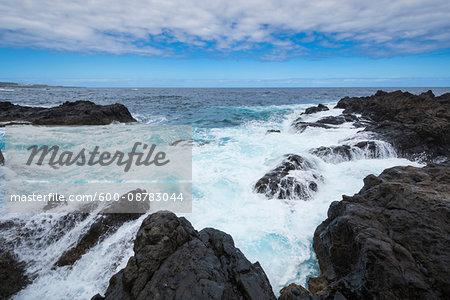 Lava Rock Coast at Garachico, Tenerife, Canary Islands, Spain