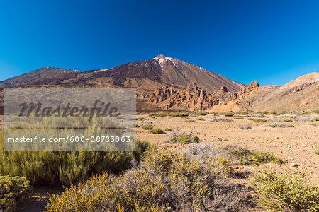 Pico del Teide Mountain with Volcanic Landscape, Parque Nacional del Teide, Tenerife, Canary Islands, Spain