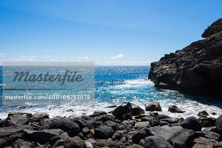 Lava Rock Coast at Los Barrancos, Tenerife, Canary Islands, Spain