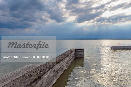 Wooden Jetty, Weiden am See, Lake Neusiedl, Burgenland, Austria