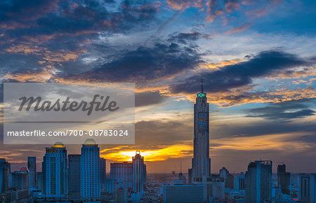 Bangkok skyline at dusk with the Baiyoke Tower II (on the right), Thailand